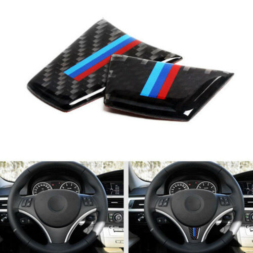 M Sport Carbon Fiber Steering Wheel Trim Decal Sticker For BMW E90 E92 2005-2012