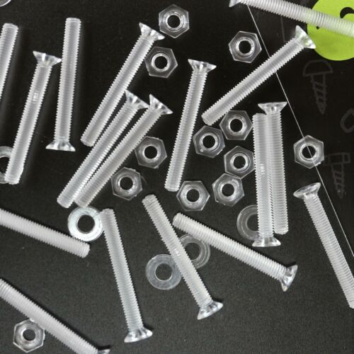 50x Countersunk Screw Nuts /& bolts Transparent Clear Plastic Acrylic M3 x 25mm