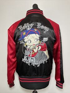 Betty Boop With Hedgehop Women's Satin Varsity Zip Jacket Embroidered M RARE