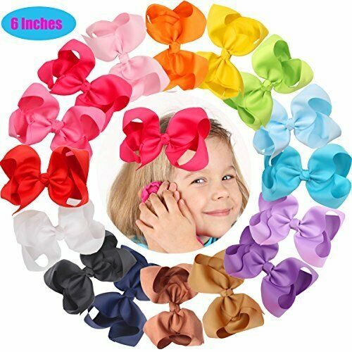16 Pcs 6 Inch Hair Bows Clips Baby Girls Toddlers Big Bow Alligator Hair Clips S