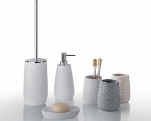 Set accessori bagno da appoggio in resina bianchi gemini for Accessori per bagno