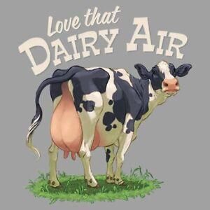 Cow-T-shirt-Short-Sleeve-Dairy-Air-Farm-S-M-L-XL-2XL-New-Gray-Gildan