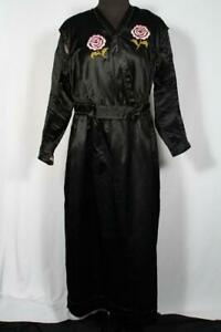 EXCEPTIONAL-FRENCH-ANTIQUE-EDWARDIAN-BLACK-EMBROIDERED-SILK-DRESS-SIZE-10-12