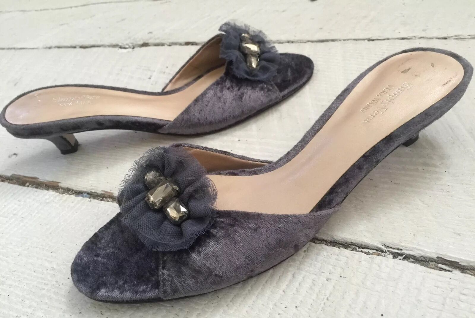 New Simply Vera / Vera Slides Wang Grey Sorbet Graphite Slides Vera Kitten Heel Sandals sz7M 75f8bd