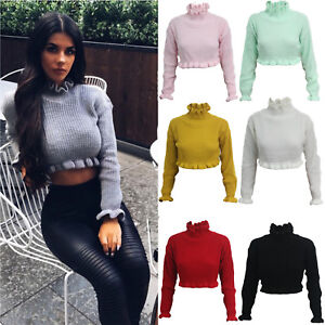 Womens Ladies Cropped Knitted Round Neck Ruffle Frill Hem Jumper Long Sleeve Top