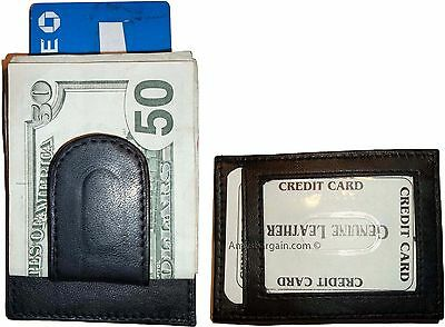 Lot of 2 New Leather Money Clip, Credit card 1 ID holder wallet money clip bnwt