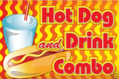 Hot Dog and Drink  Decal Graphic Carnival Food Sign
