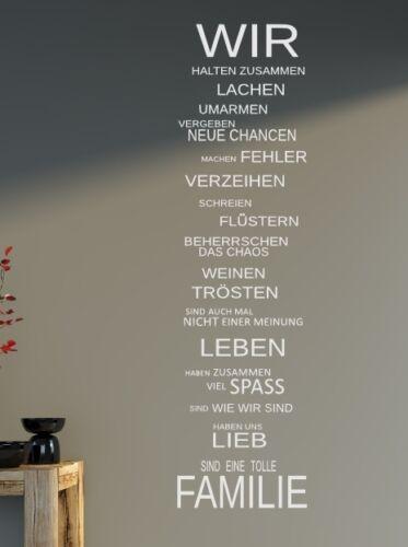 Wandtattoo XXL SPRUCH  WIR Familie Sprüche Wohnzimmer Schlafzimmer 120x32cm B341