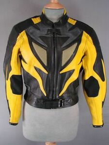 SUPERB-QUALITY-amp-CONDITION-J-amp-S-BLACK-YELLOW-GREY-LEATHER-BIKER-JACKET-SIZE-12