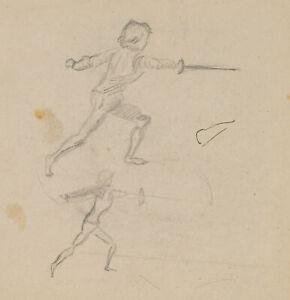 BURGER-Skizzen-eines-fechtenden-Jungen-20-Jh-Bleistift