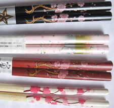 4  Pair CHERRY BLOSSOM  chopsticks HAIR STICKS Wood Black Red White Pink Lot