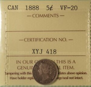 1888-Canada-Silver-5-Cents-Graded-ICCS-VF-20-Serial-XYJ-418