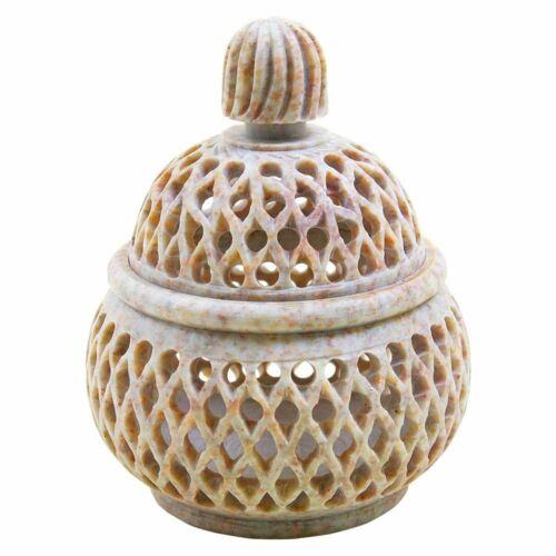 Soapstone Tea Light Candle Holder Marble Lamp Hand Carved Decorative T-Light