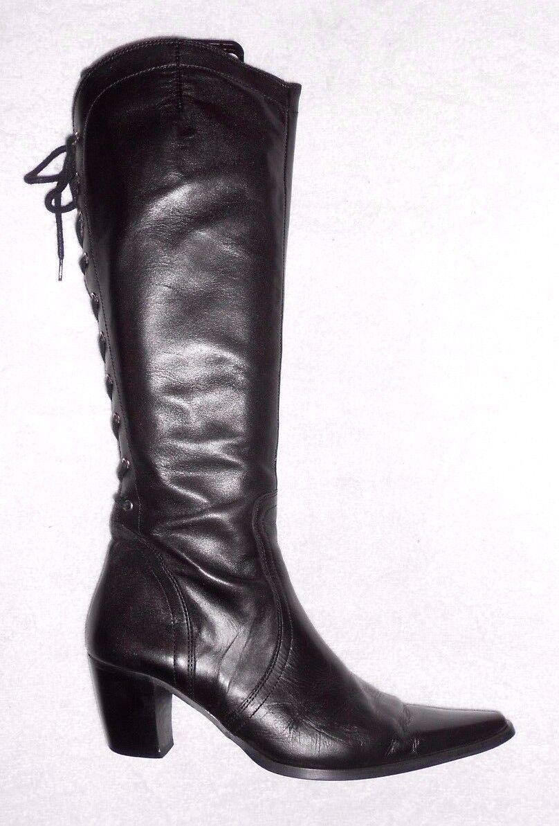 REQINS COLLECTION botas zip + laçage cuir negro P 38 TBE