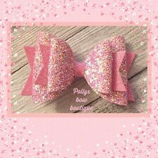 Dolly Pink Glitter Hair Bow Quad Layer Clip Bobble