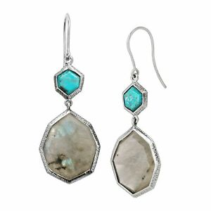 Silpada-039-Stepping-Stones-039-Nat-Labradorite-amp-Compress-Turquoise-Earrings-Silver