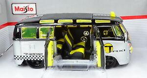 VW-Volkswagen-T1-Samba-Conversion-Voiture-Gonflee-Taxi-echelle-1-25-de-maisto
