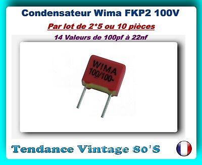 10 condensateurs Wima FKP2 100pF 100V 5/%