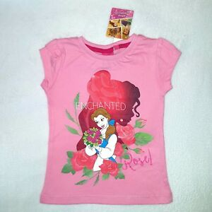 Other Disney T-shirt Belle Princesse 3 4 5 6 Ans La Belle Et La Bête Rose Neuf