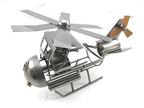 en métal pour mon anniversaire... Porte-bouteille vin pilote d/'hélicoptère 37 cm
