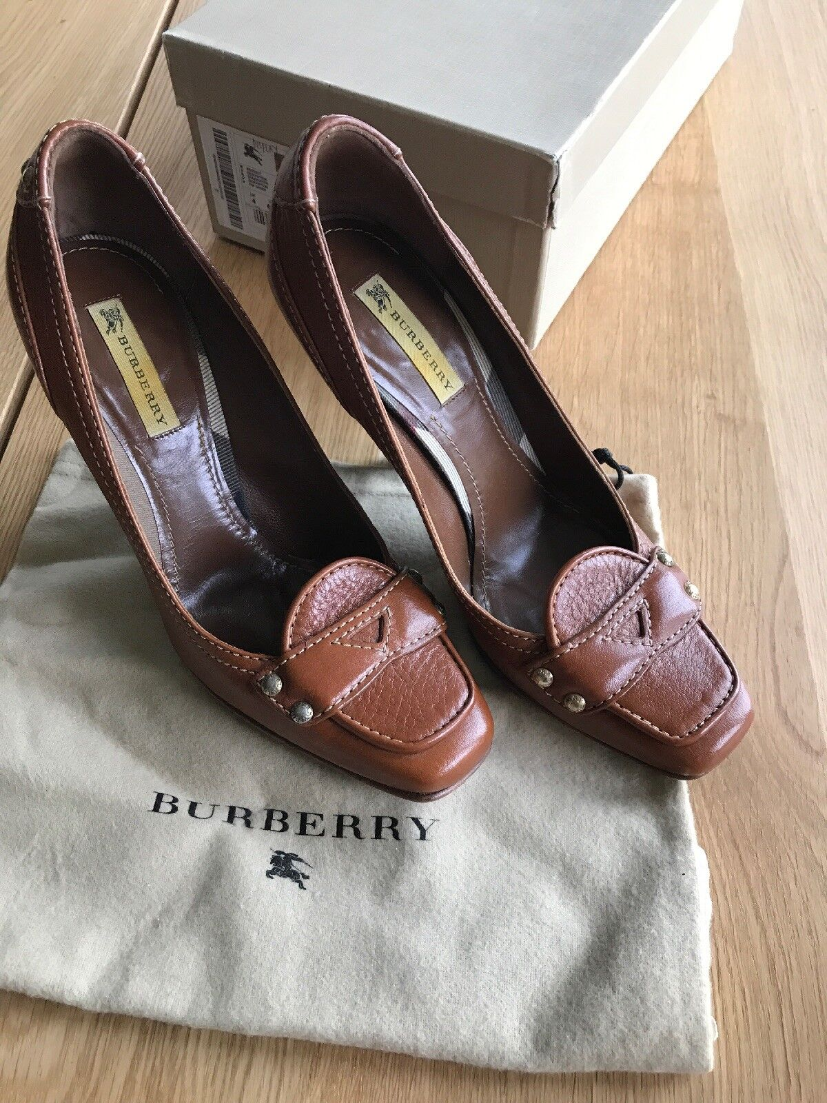 Burberry Leather High Heel Shows 6.5 37 Saddle Brown