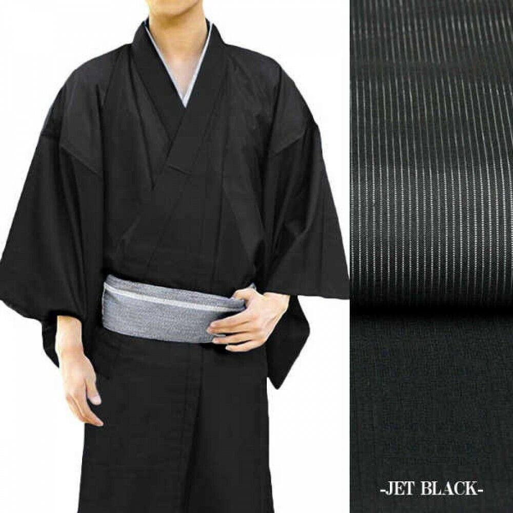 Japanese Men's Summer Kimono Thin Fabric Without Obi Jet Black Japan Tracking