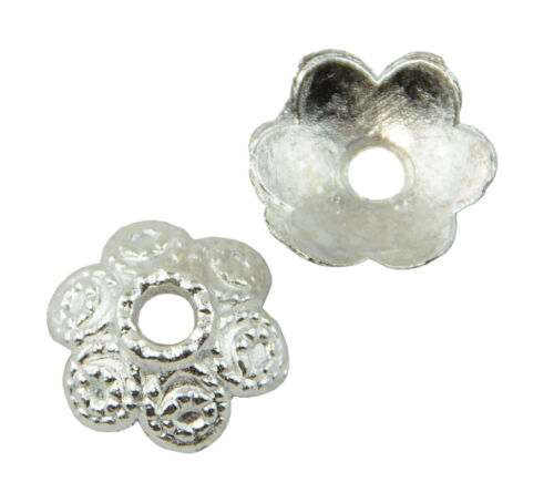 Pack of 20 Flower Bead Caps 11mm Silver Plated Jewellery Findings 45564-149