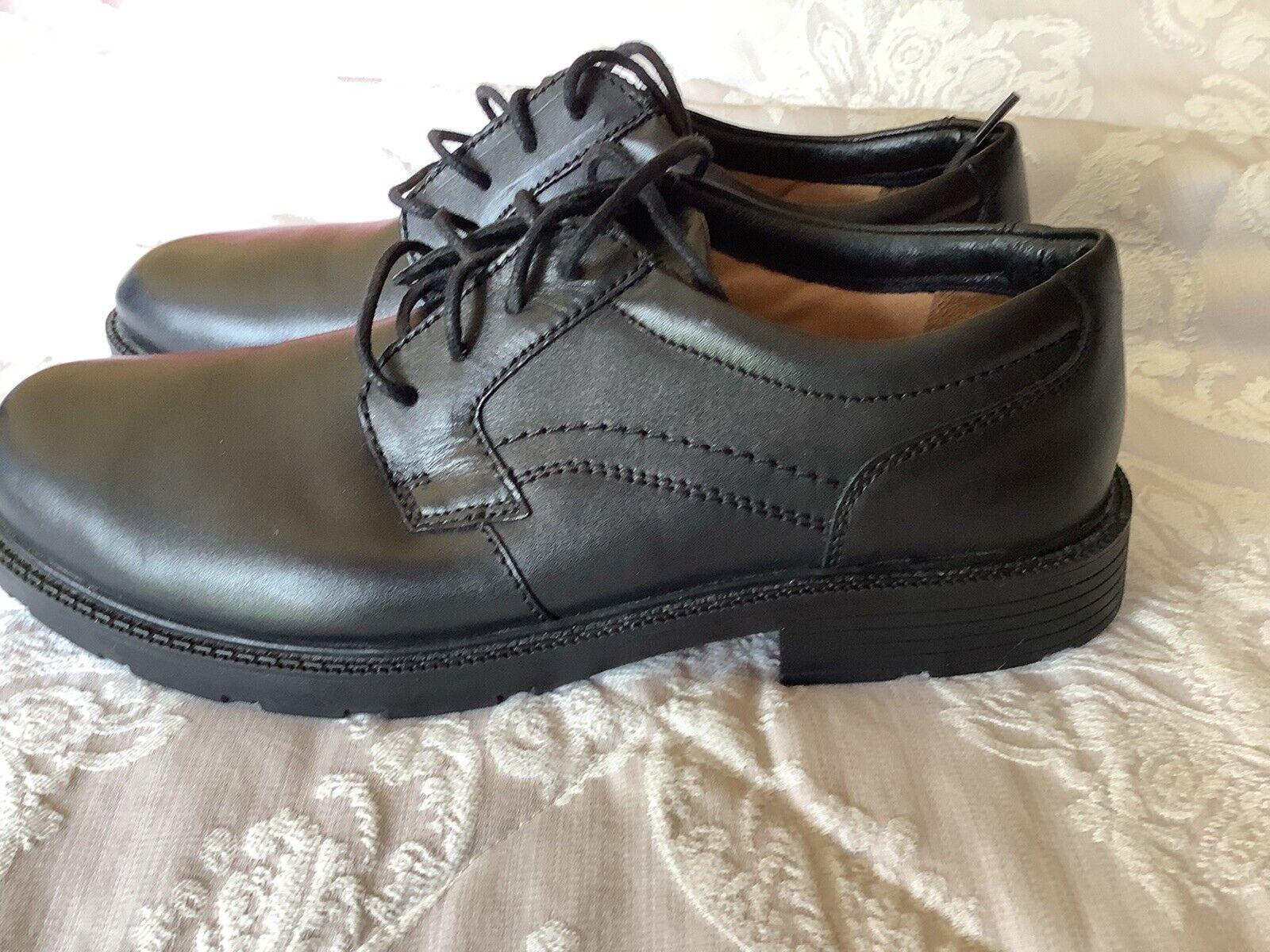 Clarks Sturdy Mens Black Leather Shoes UK Size 9G