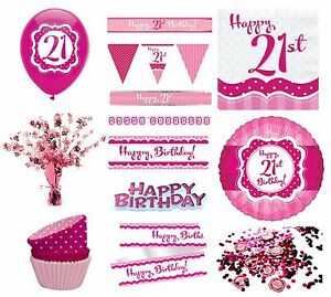 perfectly pink girl age 21 happy 21st birthday party items