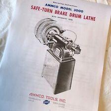 Ammco 3000 Drum Brake Lathe Operating Manual With Parts Diagram Original