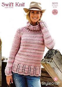 24a59d96f Image is loading Stylecraft-9070-Knitting-Pattern-Ladies-Sweater-in-Swift-