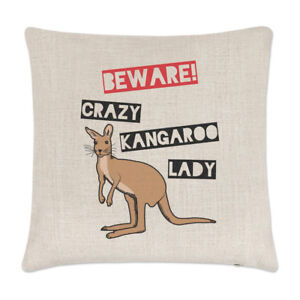 oreiller kangourou Attention Fou Kangourou Coccinelle Lin Housse De Coussin  oreiller kangourou