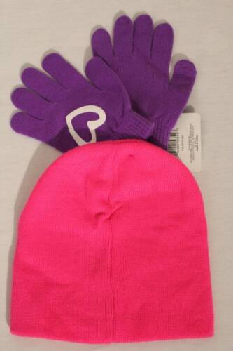NEW Girls Beanie Hat Gloves 2 Piece Set Acrylic Knit Cap Pink Love Purple Warm