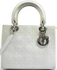 Lady Dior MM Christian Dior Handbag Handtasche Tasche Kalbsleder Calfskin White