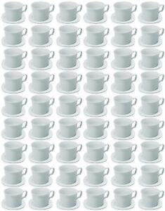 72x-SET-TAZZE-quadrato-0-18-litri-coppa-Piattino-Porcellana-Bianca
