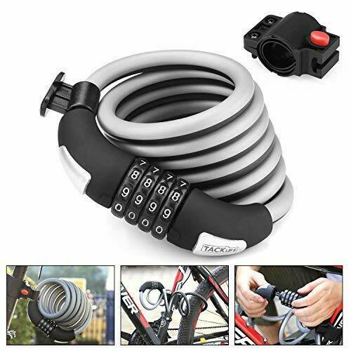 Bike Lock 6-Feet Heavy Duty Bike lock Cable Self Coiling Resettable Combination
