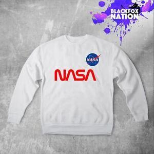 Spazio-NASA-Logo-Felpa-Maglione-a-Maniche-Lunghe-NASA-Stampato-Pullover-Camicia-Unisex