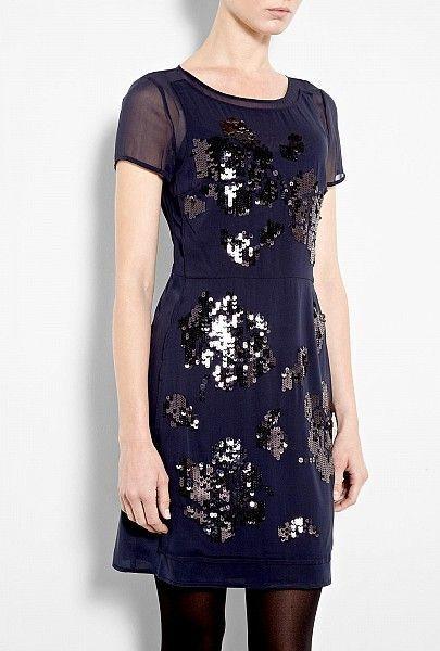 DKNY Sequin Sequin Sequin Appliqué Silk Dress, Majestic bluee, NWT,  395 5e07bc