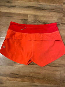 "LULULEMON Coral Red Run Speed Up Shorts 2.5"" inseam, Liner, Size 4 Small NEW"