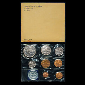 SOUTH-KHARTOUM-SUDAN-1967-PROOF-SET-8-COINS-ORIGINAL-GOVERNMENT-PACKAGING