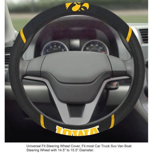 Brand New NCAA Iowa Hawkeyes Black Mesh Extra Grip Steering Wheel Cover