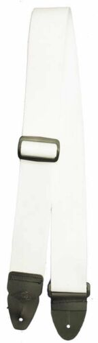 New Tomahawk Guitar Strap Strong White Nylon Webbing /& Genuine Leather Ends USA
