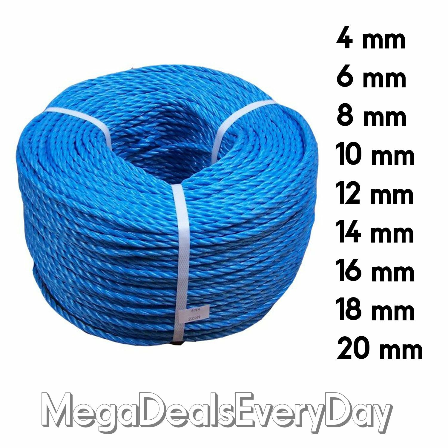 bluee Poly Polypropylene Rope Coils Agriculture Camping Tarpaulins Sailing Marine
