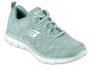 Details about Skechers NEW Flex Appeal 2.0 High Energy sage green memory foam trainers siz 3 8
