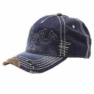 NEW TRUE RELIGION DISTRESSED MEN WOMEN TRUCKER INDIGO BLUE HAT CAP UNISEX TR1985