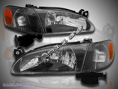 For 98-00 Toyota Corolla Black Headlights//Corner Lights Left//Right Assembly Set