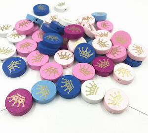 50X-Crown-Spacer-Beading-Wooden-Beads-Kids-Toys-Pacifier-Clip-Accessories-20mm