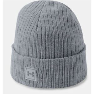 95eaa67f0 Details about Under Armour Truck Stop 2.0 Ribbed Gray Acrylic Cuffed Watch  Beanie 1318517-035