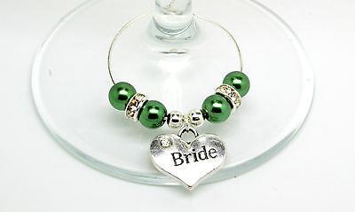 Verde Scuro Perla Personalizzato Matrimonio Famiglia Tavolo Partito Da Vino In Vetro Charms-mostra Il Titolo Originale