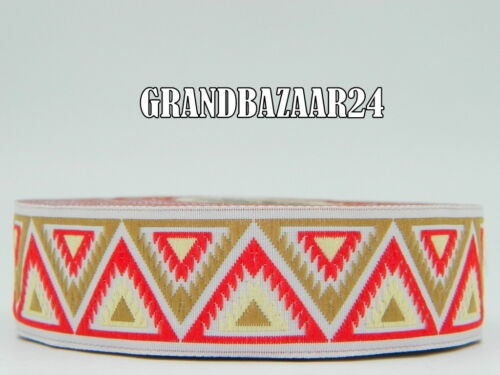 10yds Embroidered Ribbon//Trim Aztec//Tribal  Various colours available 1/""